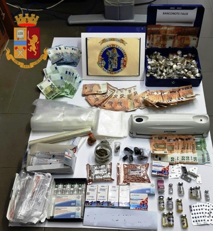 immagine droga anabolizzanti e banconote false pula