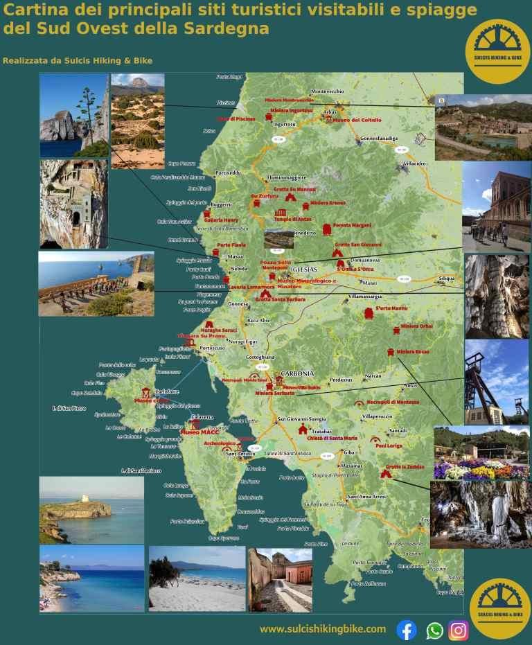 Sardegna Ovest Cartina.Mappa Dei Siti Turistici E Spiagge Del Sud Ovest Della Sardegna