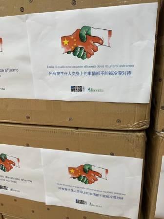 materiale medicale donato dalla cina in arrivo in sardegna