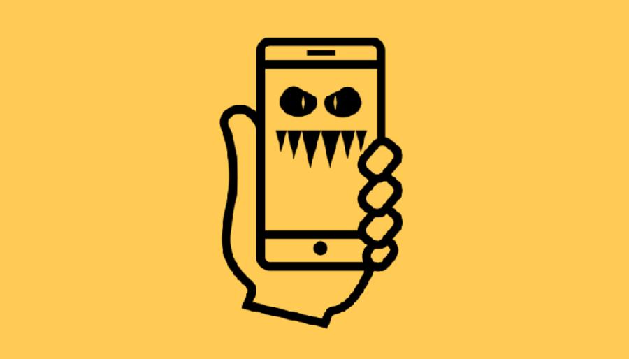 Disegno sfondo giallo mano con telefonino malato