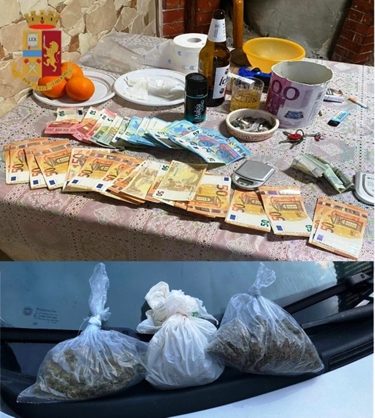 immagine droga e denaro recuperati dai carabinieri a vallermosa