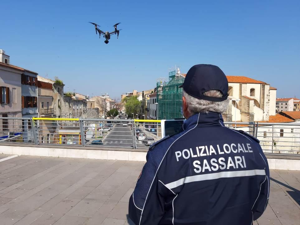 immagine drone polizia locale di sassari