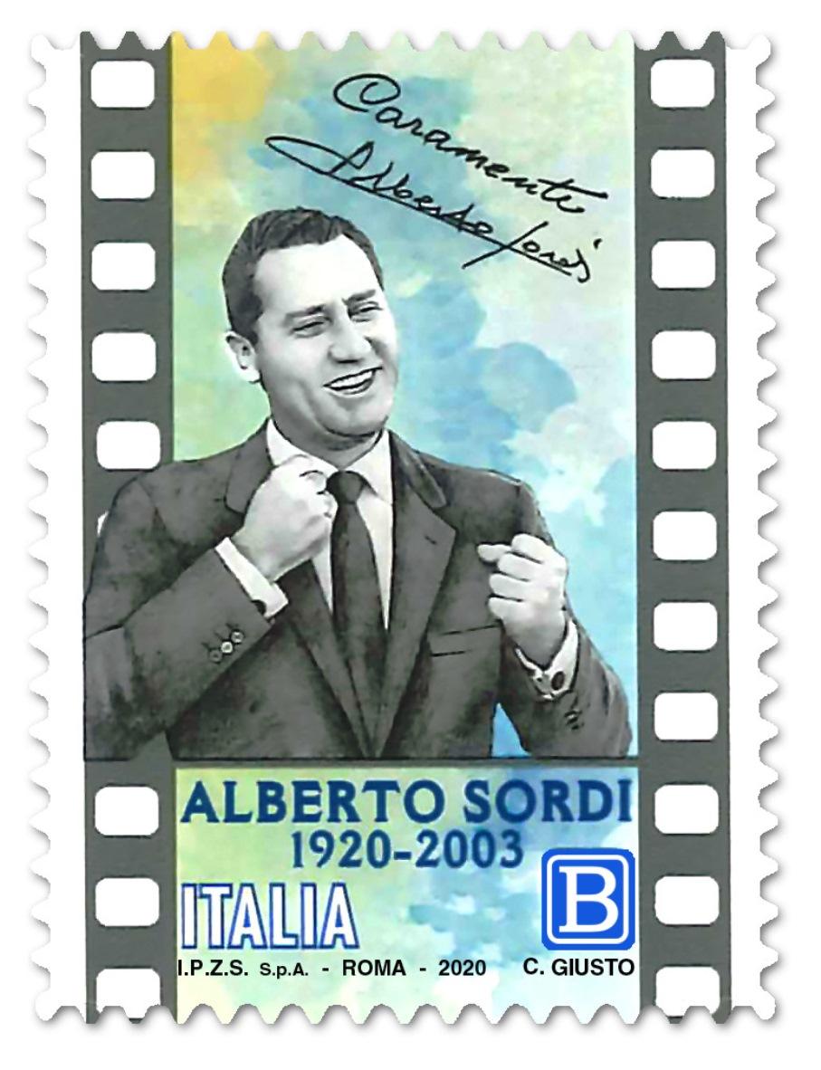 immagine francobollo celebrativo alberto sordi