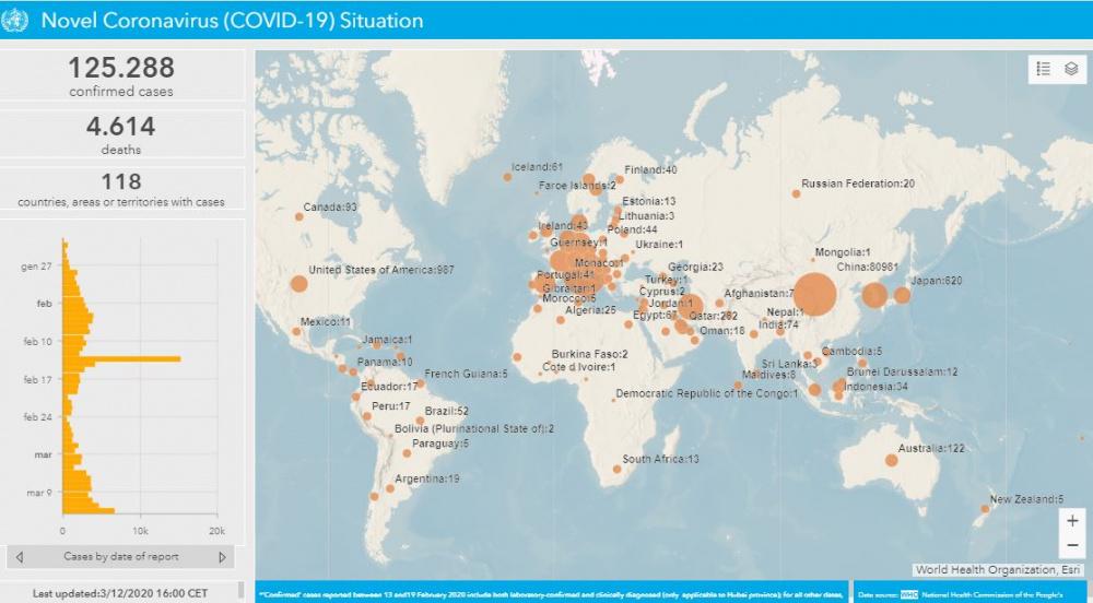 Immagine diffusione coronavirus nel mondo