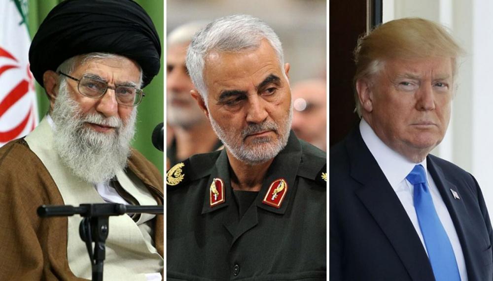 Immagine presidente trump, Soleimani e presidente Iran