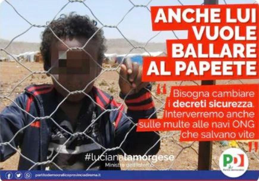 immagine manifesto del partito democratico contro il decreto sicurezza di salvini