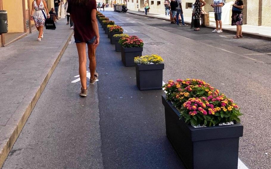 immagine fioriere strada centro di sassari