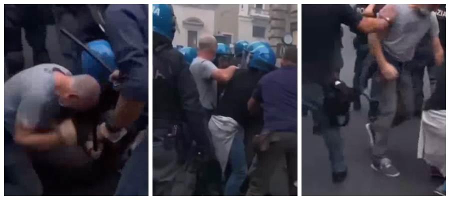 Poliziotto aggredisce un manifestante. Non è un dirigente come erroneamente affermato sui social