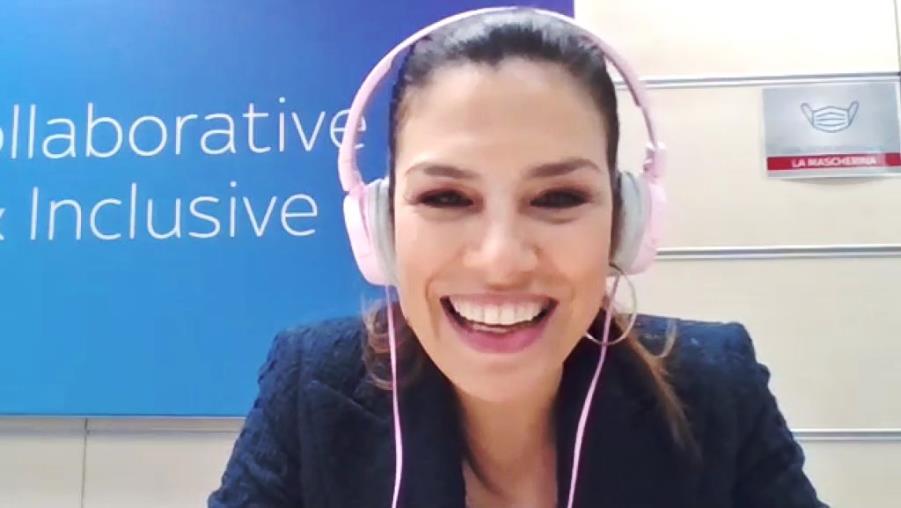 Stefania Pinna durante l'intervista di Daniele Cardia A Tu per Tu