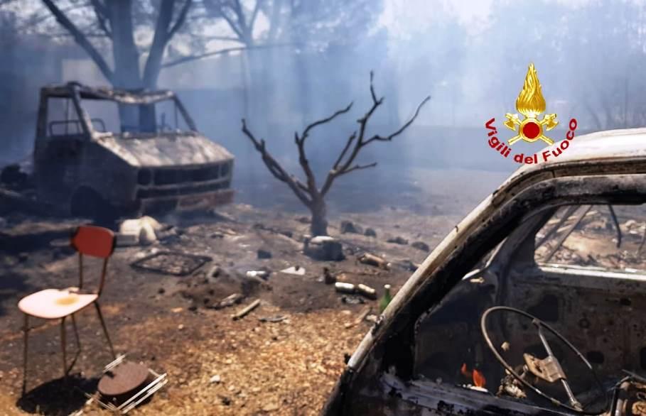 incendio campagne di uta